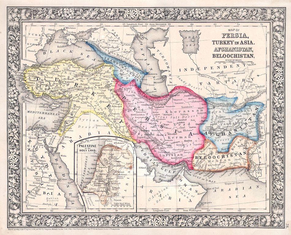 Mapa de Persia, Turquí y Afganistán (1864, Mitchell)
